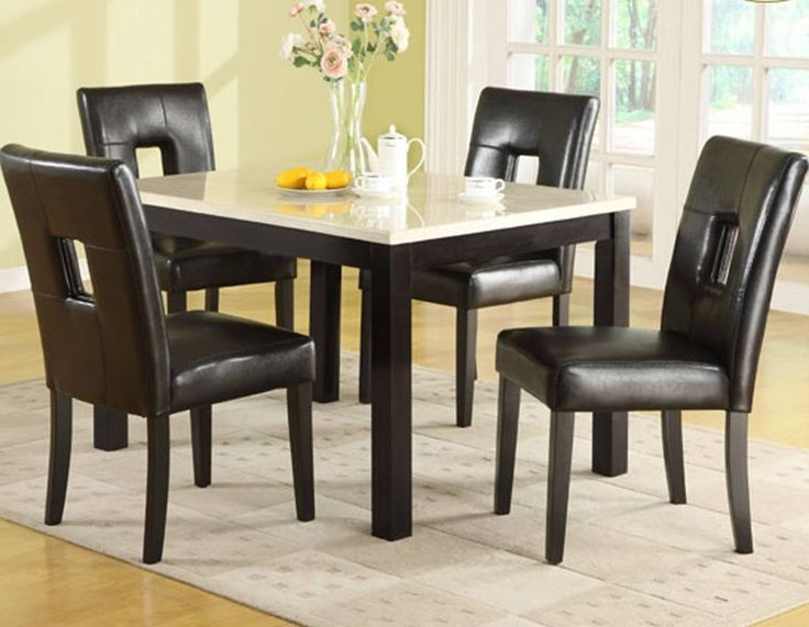 Archstone Black Wood Faux Marble Dining Table