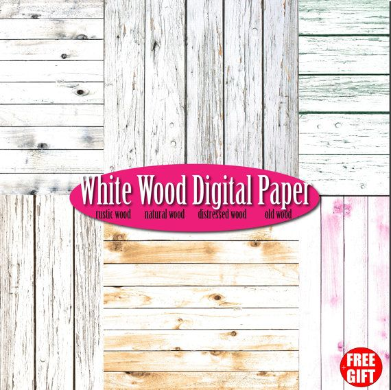 White wood digital paper rustic wood wall art scrapbook by DIGIFT