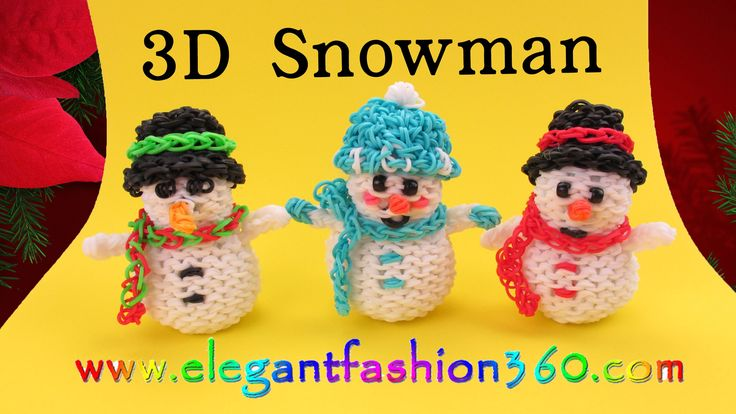 Rainbow Loom Snowman 3D Charms - How to Loom Bands- Holiday/Christmas Or...