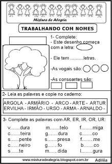 Mistura de Alegria: PRIMAVERA E DIA DA ÁRVORE:FORMAR PALAVRAS COM AS L...