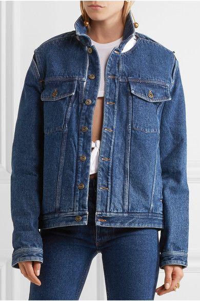 Dark-blue denim  Button fastenings through front  100% cotton Dry clean