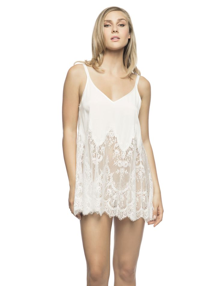 """$198 Georgina Oh My Swing Babydoll in Ivory. Playful swing-babydoll when romance is at the rendezvous""""!  Stretch silk Georgette bodice, engineered eyelash lace skirt babydoll is your ideal dreamy honeymoon must-have."""