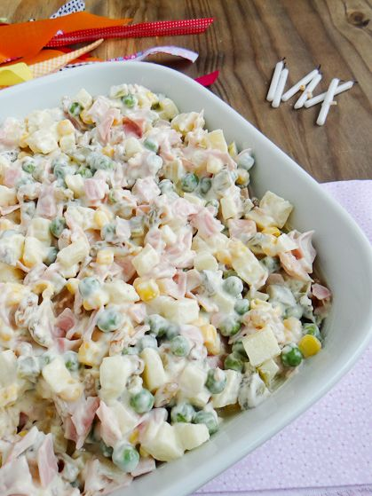 Party Salad to try: 450 grams smoked turkey breast, 450 grams ham, ½ cup pickles, 1 Granny Smith apple, peeled, 1 cup canned pineapple, 1 cup sweet corn, 1 cup frozen peas, mayo