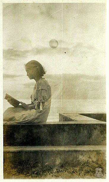 "Maria Aurora ""Baby"" Quezon, reading.      Her father, President Manuel L. Quezon, was known as a voracious reader. To him, ""our lives become lifted up by the galvanizing contact with the best minds produced by the human race."""