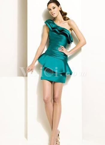 Blue Satin Sheath Prom Dress with One-Shoulder