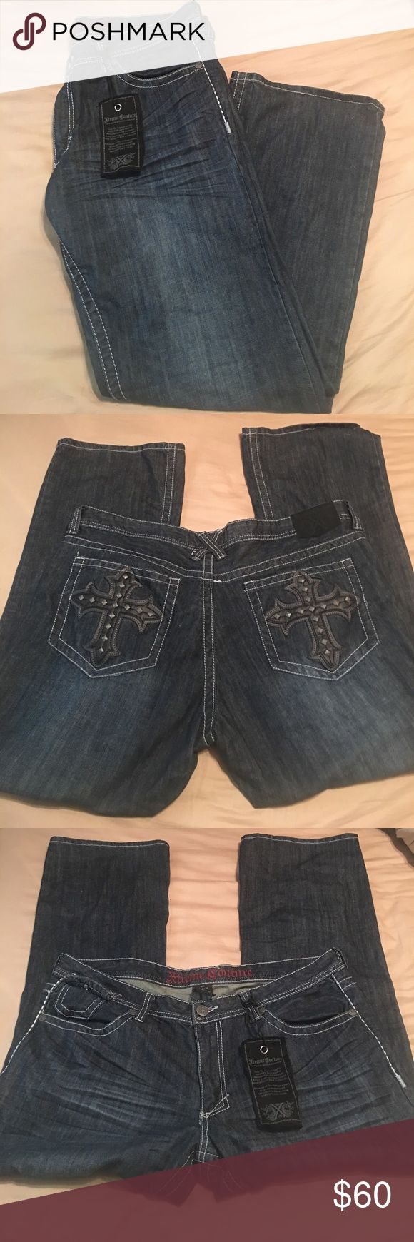 NWT Xtreme Couture by Affliction men's jeans NWT Xtreme Couture by Affliction men's jeans for sale! Size: 40(W) X 32 (L) tag states material is 100% cotton. Dark wash with whiskering detailing along upper thigh area, back pockets have black (with silver detailing) crosses. Affliction Jeans