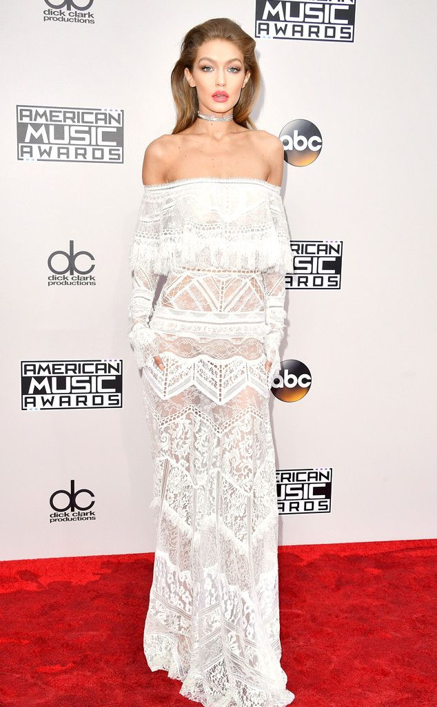 Gigi Hadid from 2016 AMAs Red Carpet Arrivals In Roberto Cavalli