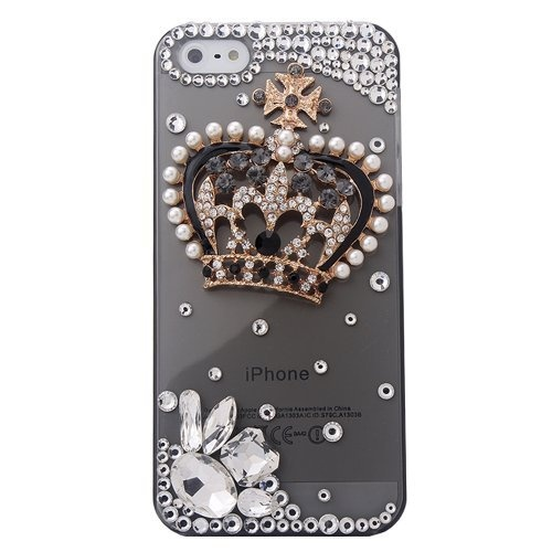 MinisDesign® Luxury 3D Bling iPhone 5 Crystal Gold Pearl Crown Bling Diamond Case Cover For Apple iPhone 5 (Fits: At, Sprint, Verizon) by MinisDesign Inc.®. $5.99