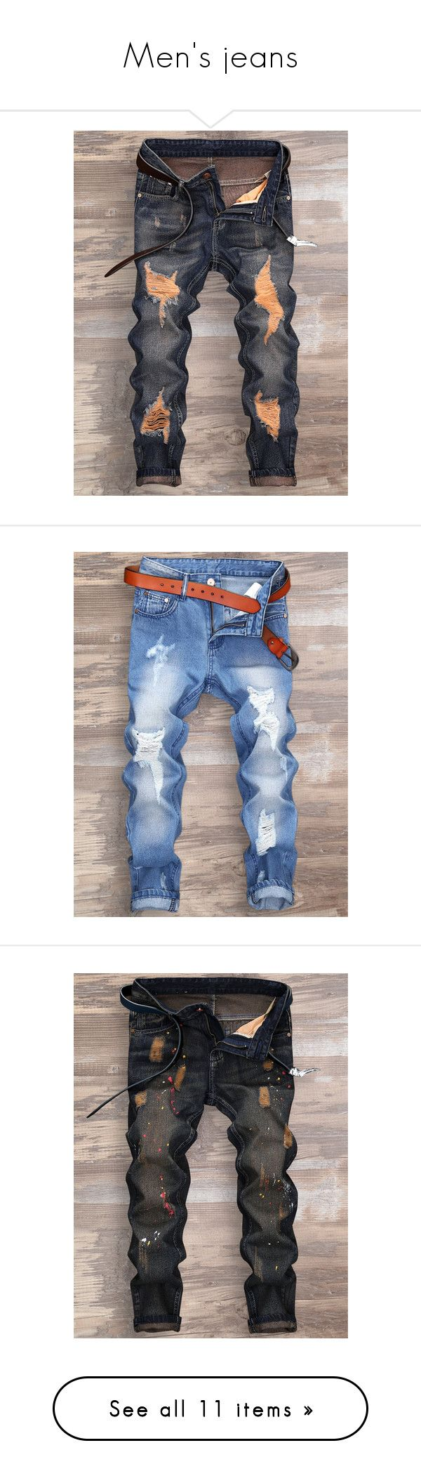 """Men's jeans"" by rosegal-official ❤ liked on Polyvore featuring men's fashion, men's clothing, men's jeans, mens torn jeans, mens cuffed jeans, mens ripped jeans, mens distressed jeans, mens destroyed jeans, mens zipper jeans and men's paint splatter jeans"
