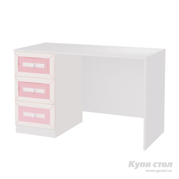 Письменный стол 120 Алиса  Письменный стол из детской модульной серии Алиса.    Модульная система Алиса поможет сделать комнату мечты явью для маленькой любительницы сказок и волшебства. Нежная цветовая гамма с преобладанием зефирно-розового, изящные элементы оформления и изумительный, цветочный декор на каждом элементе модульной системы сделают детскую спальню цельной, наполненной упоительной магией детства.      Элегантный письменный стол с тумбой подойдет для романтичных и творческих…