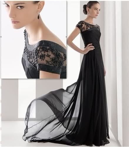 Elegant Cap Sleeves Black Formal Evening Gowns Chiffon Long Wedding Party Dress ebay MOH