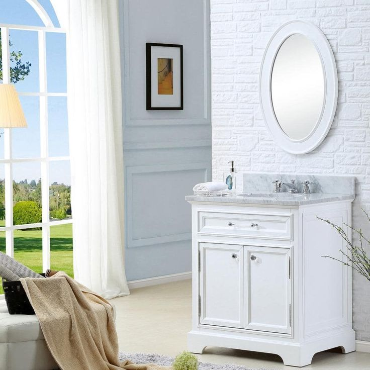 Picture Gallery For Website Water Creation Derby inch Solid White Single Sink Bathroom Vanity Vanity Mirror and Faucet Included