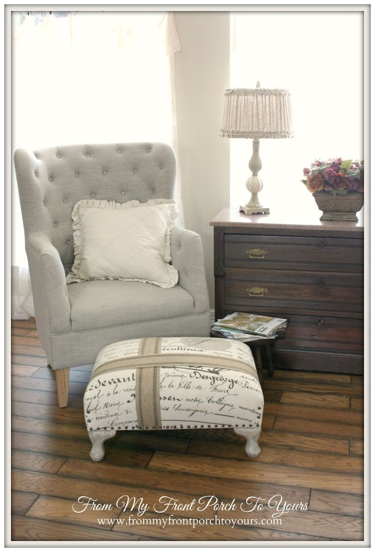 Love the chair and lamp Gorgeous french country farmhouse style home tour from My Front Porch to Yours.