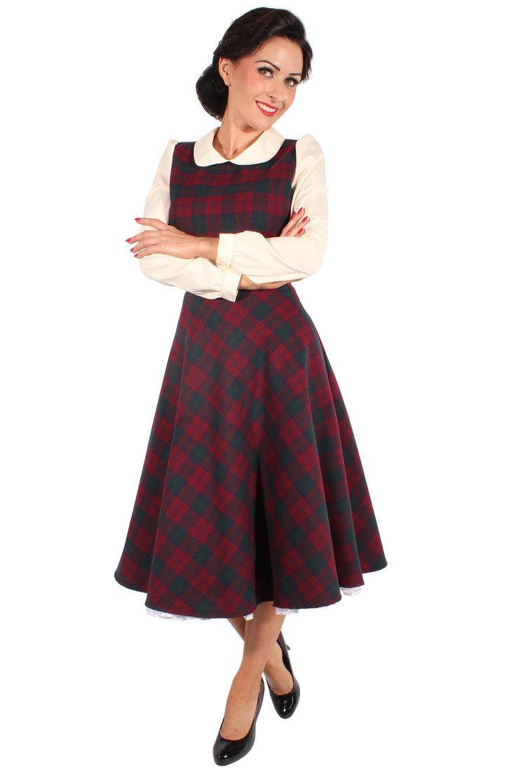 Glencheck RETRO Rockabilly Karo Petticoatkleid Schulmädchen Swing Kleid