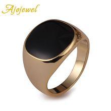 Ajojewel MAAT 6.5-13 Nieuwe 18 K Plated Classic Gold Mannen Ringen Zwart Emaille Schilderen Sieraden Fashion Anel(China (Mainland))