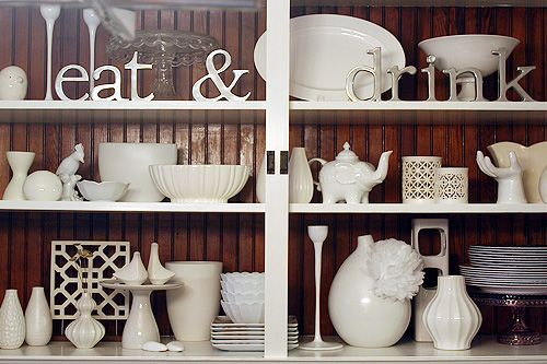 White Ceramic Arrangement.: Dining Rooms, Kitchen Shelves, All White, Inspiration, Hutch Idea, Decorating Ideas, Book Shelves