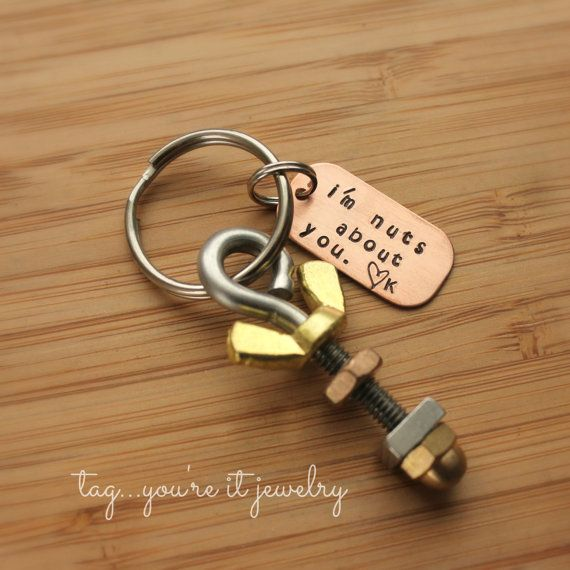 Mens Keyring- Nuts about you Keychain for Him- Manly Man, Nuts, Bolts, Tools, Unique Husband Gift for Valentines Day