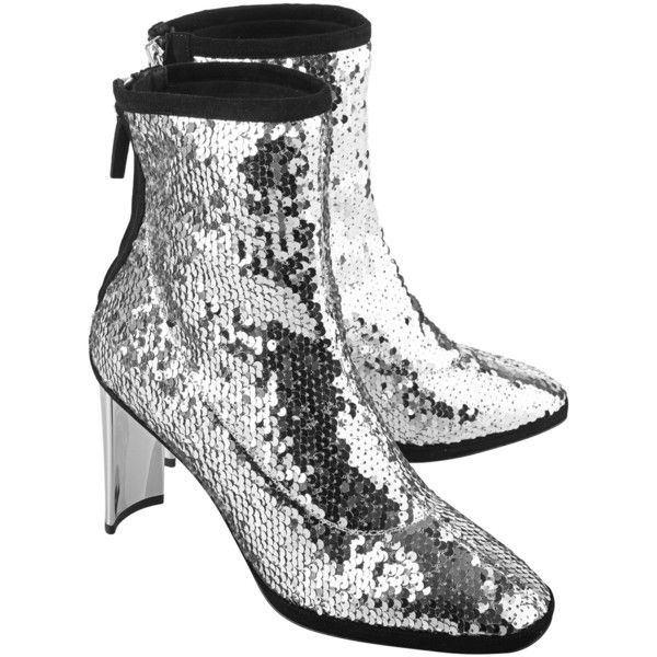 GIUSEPPE ZANOTTI Ruggente Sequin Silver // Ankle boot with sequin ($880) ❤ liked on Polyvore featuring shoes, boots, ankle booties, ankle boots, silver ankle boots, zip ankle boots, black bootie boots, short boots and black ankle boots