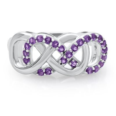 Infinity X Infinity� Amethyst Ring in Sterling Silver available at #HelzbergDiamonds