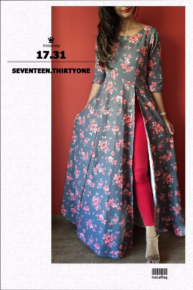 tall girls out there this is a perfect anarkali kurti for u for foral design - Dress Design Ideas