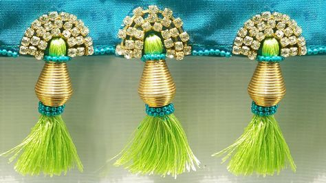 How to make saree kuchu , tassels easily at home, silk thread saree tass...