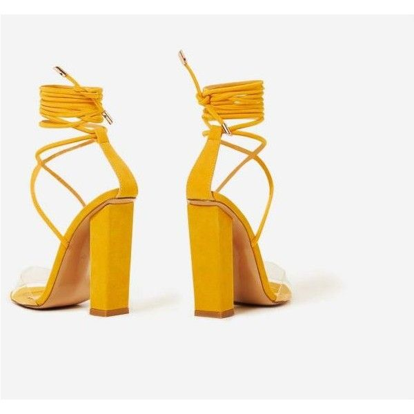 Bello Perspex Lace Up Block Heel In Yellow Faux Suede (£32) ❤ liked on Polyvore featuring shoes, pumps, block heel pumps, laced up shoes, lucite pumps, block-heel shoes and block heel court shoes