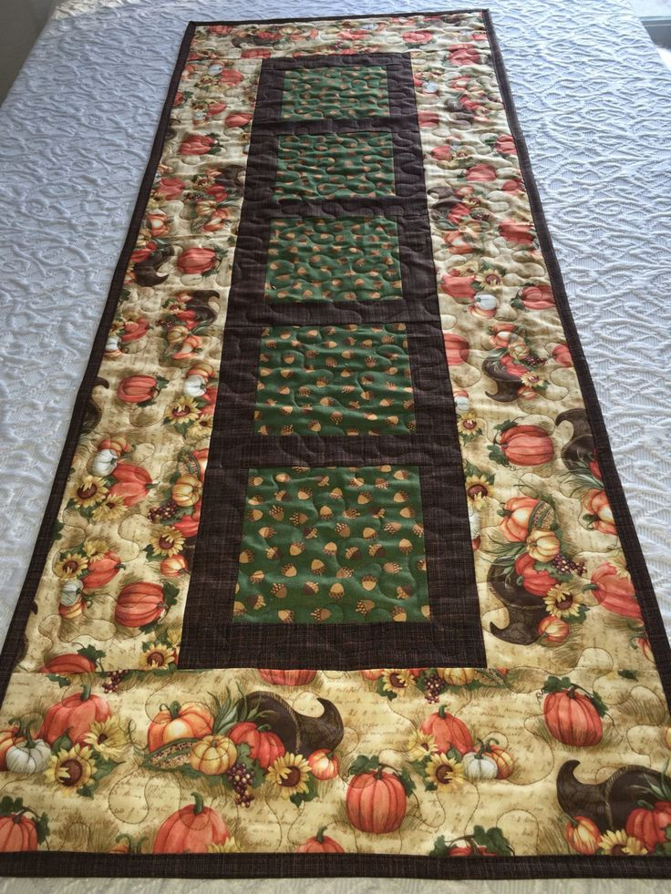 Fall Autumn Thanksgiving Table Runner Quilt, Pumpkin, Cornucopia,  Acorns…
