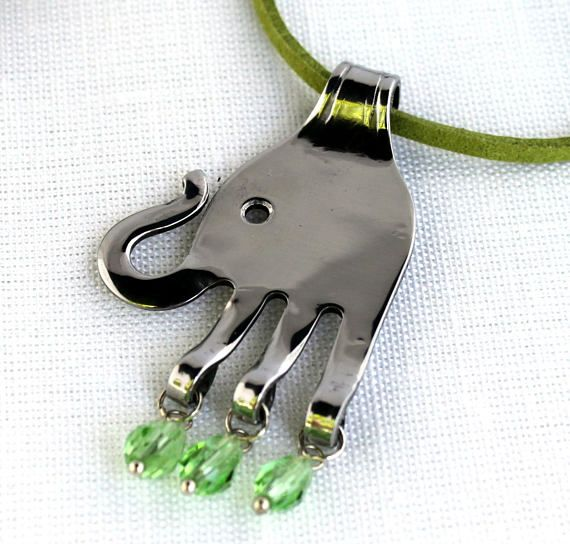Cute Upcycled Silverware Fork Art Elephant Pendant with Green