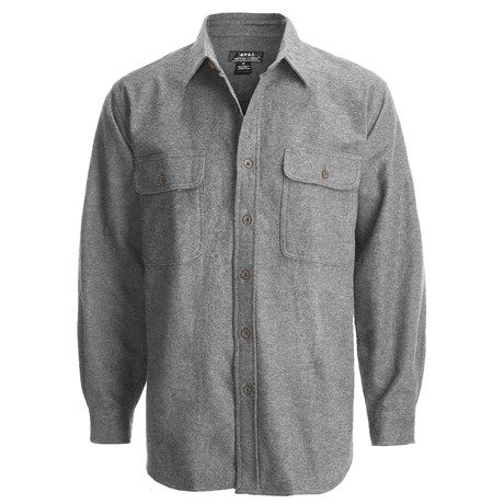 Moose Creek Heather Chamois Shirt - 9 oz., Long Sleeve (For Men): Grey, Khaki, Steel and Dark Charcoal.