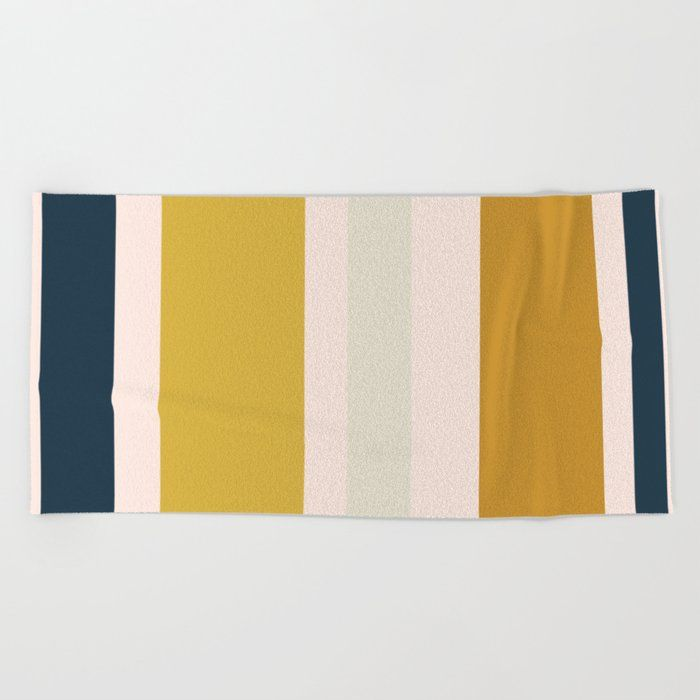 Blush Pink Navy Blue Mustard Yellow And Taupe Big Stripes