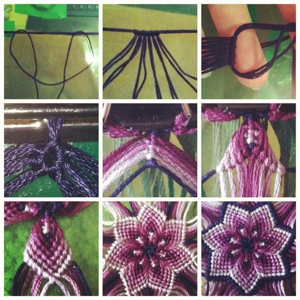 togetherwellmakeitthrough:  A few people kept asking me how I made these flowers so I took pictures of each stage to show you :)) The knots in the centre picture are cobra knots and the knots after that stage are all just forward and backward knots