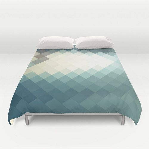 Hey, I found this really awesome Etsy listing at https://www.etsy.com/il-en/listing/203007935/teal-blue-duvet-cover-triangle-art