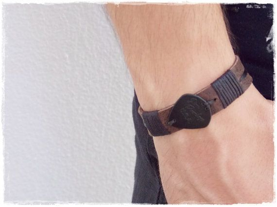 Rocker Leather Bracelet Men's Leather Cuff by ChrisOsCreations, €12.50