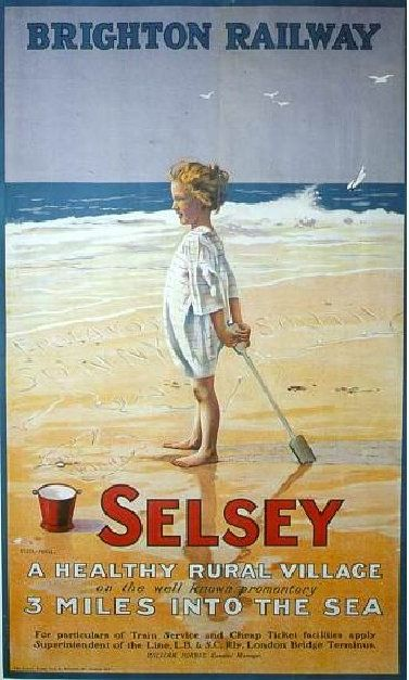 Selsey Village vintage beach poster