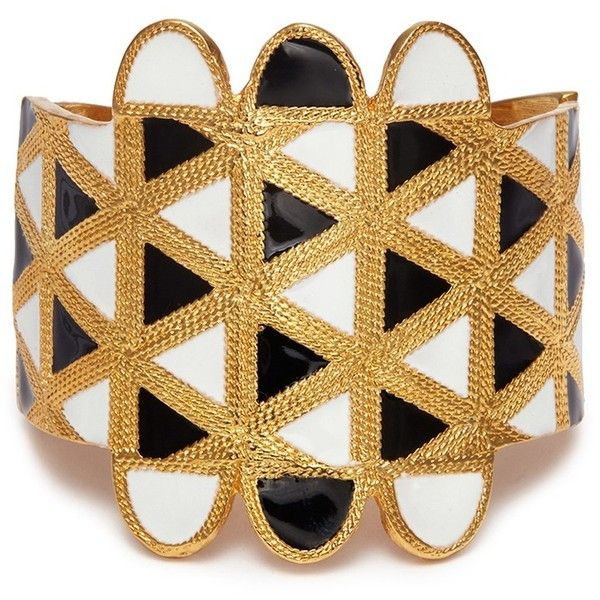 Kenneth Jay Lane Geometric pattern bracelet ($265) ❤ liked on Polyvore featuring jewelry, bracelets, kenneth jay lane, geometric jewelry, black and white jewelry, kenneth jay lane jewelry and kenneth jay lane bangles