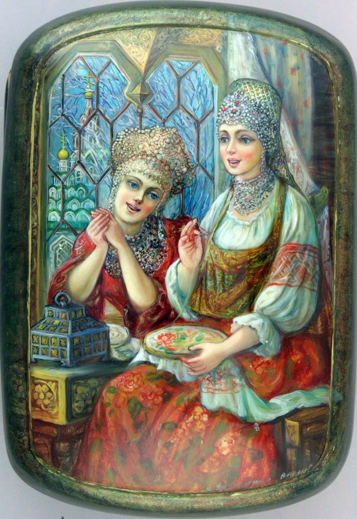 """Fedoskino. Russian Lacquer Art Titled """"Two Girlfriends"""" Artist Vagner"""