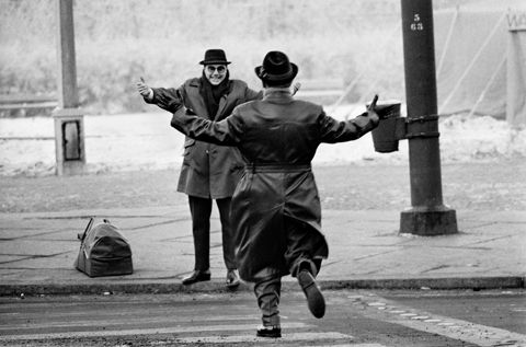 Two brothers reunited for Christmas in 1963. They had been separated for years by the Berlin Wall. Copyright Ian Berry