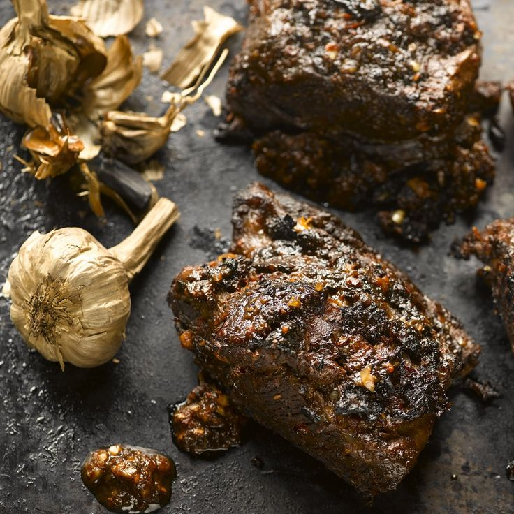 Barbecue beef short ribs with black garlic and urfa chilli: These wonderfully smoky and aromatic short ribs are actually cooked a day in advance (mind, it takes four hours or more), marinated for 24 hours and then barbecued and warmed up briefly just before serving. You can take the meat off the bone, as in the instruction, for easy grilling and eating, or leave on for the wholesome look. Serve with crispy lettuce salad and roasted potatoes.
