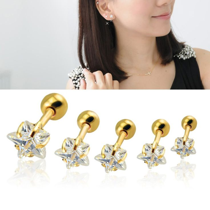 3~5mm boucle d'oreille Star Shaped Zircon Cartilage Earrings Gold Plated Tragus Helix Piercing Stud Earrings for Women