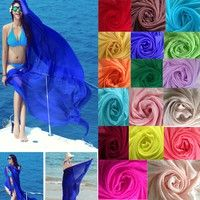 Wish | New Arrival Women's Solid Color Summer Style Beach Sunscreen Scarves/Fashion Chiffon Beach Scarf Shawl