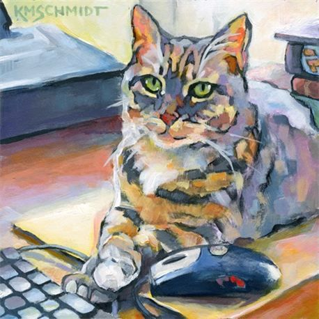 impressionist colorist green-eyed tabby cat painting art, still life illustration of green-eyed office cat and computer mouse by Karen Schmidt...