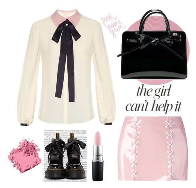 """LoVe ❤️"" by denyeverything ❤ liked on Polyvore featuring Jennifer Lopez, Maria ke Fisherman, Roksanda, Colonial Mills, Dr. Martens, Bobbi Brown Cosmetics, MAC Cosmetics, Pink, black and bows"