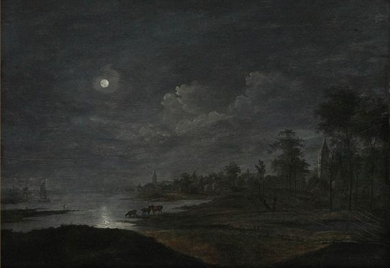 jan van goyen Animated River Landscape at Moon Light