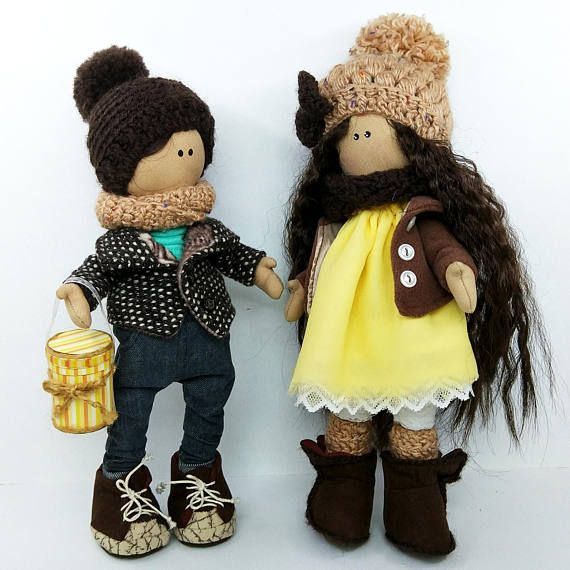 """Puppet couple """"Jim & Jenny"""" Luxury Handmade toy Gift doll NewYear B-day presents Child Happiness Exclusive"""