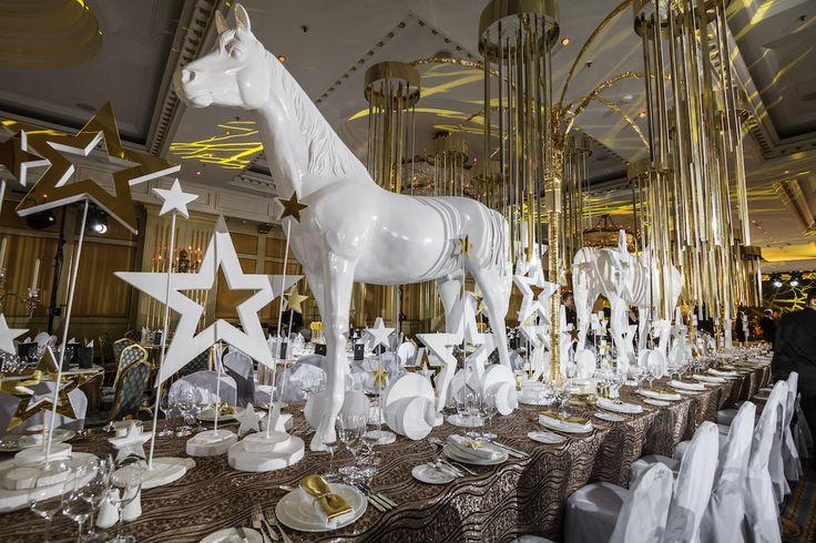 Lux gold and white event decor Ritz-Carlton - Shakirova Julia