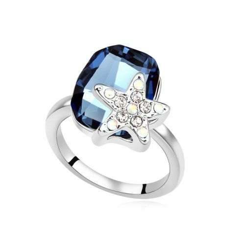 $9,75 Starfish Swarovski crystal engagement ring - Yohanna Jewelry Wholesale. BEST PRICE: Directly in the jewelry factory. VAT-free shopping: Available, partners based in the European Union, only applies to EU tax identification number (UID). Exclusive design SWAROVSKI crystals and AAA Zircon crystal engagement rings, wedding & bridal rings, cocktail party rings.