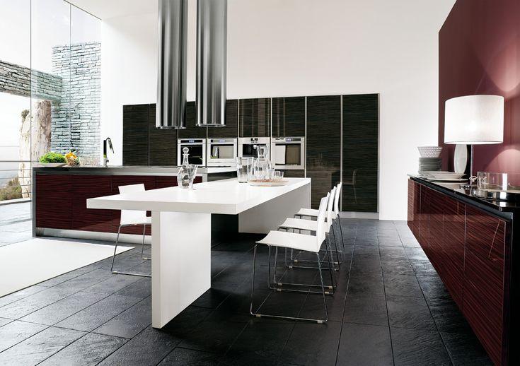 Cucina Moderna Antracite e Rosso Mogano - Charme