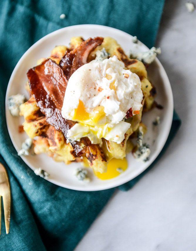 THANKSGIVING LEFTOVERS! bacon blue cheese mashed potato waffles I howsweeteats.com