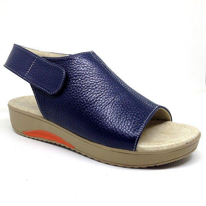 Sandal Wedges Kulit Asli Premium 3 Cm Navy Sukaregang Garut