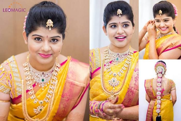 Bride in Pearl Work Yellow Blouse | Saree Blouse Patterns
